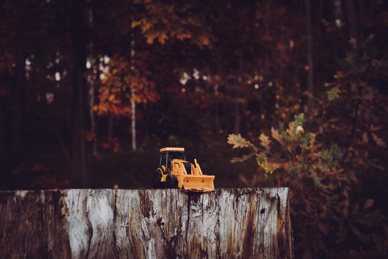 Mała, zabawkowa koparka na pniu drzewa